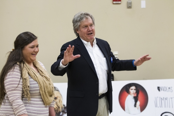 Hilary Barrett, left, deputy training director for the Nevada State Democratic Party, and State Sen. Tick Segerblom, D-Las Vegas, participate during a mock caucus training hosted by the Nevada Sta ...