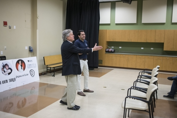State Sen. Tick Segerblom, D-Las Vegas, left, and Assemblyman Nelson Araujo, D-Las Vegas, participate during a mock caucus training hosted by the Nevada State Democratic Party at the Mirabelli Com ...