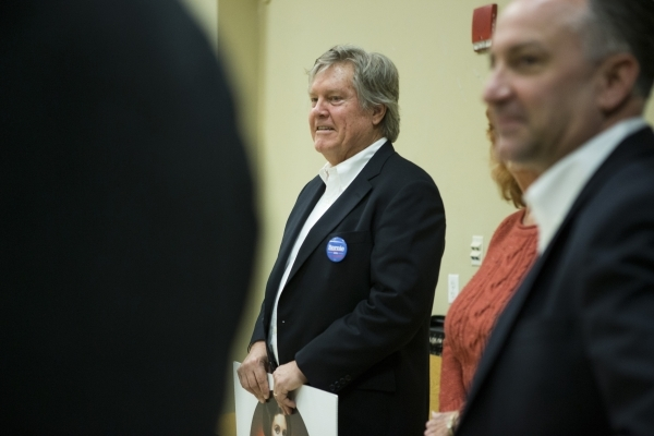 State Sen. Tick Segerblom, D-Las Vegas, participates during a mock caucus training hosted by the Nevada State Democratic Party at the Mirabelli Community Center on Saturday, Jan. 30, 2016, in Las  ...