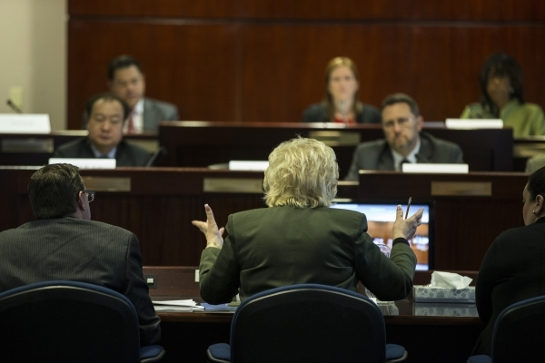 Las Vegas Mayor Carolyn Goodman speaks during a technical committee meeting to discuss the reorganization of the Clark County School District at the Grant Sawyer State Office Building on Wednesday ...