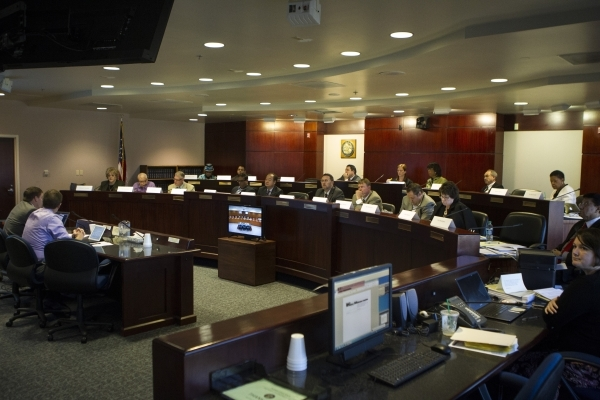A technical committee meeting made of lawmakers, mayors, education officials discuss the reorganization of the Clark County School District at the Grant Sawyer State Office Building on Wednesday,  ...