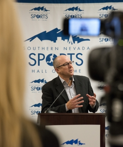 The Southern Nevada Sports Hall of Fame executive director Dan Dolby speaks during a press conference announcing the inductees of the 2016 class inside the Hall of Fame's home on the second  ...