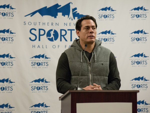 Marty Cordova, a former Major League Baseball player, speaks after being announced as an inductee of the Southern Nevada Sports Hall of Fame 2016 class during a press conference inside the Hall of ...