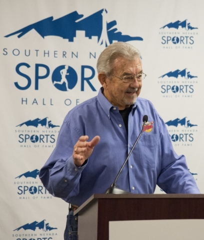 Dick Calvert, the ìVoice of the Rebelsî, announces the inductees of the Southern Nevada Sports Hall of Fame 2016 class during a press conference inside the Hall of Fame's home on the s ...