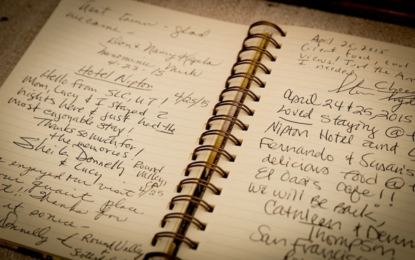 The Nipton Hotel's guestbook. TONYA HARVEY/REAL ESTATE MILLIONS