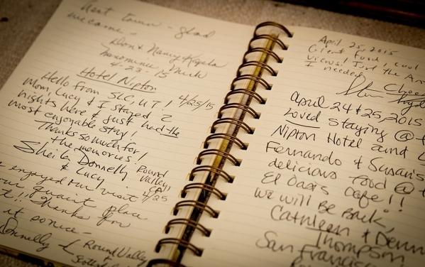 The Nipton Hotel's guestbook. TONYA HARVEY/REAL ESTATE MILLIONS