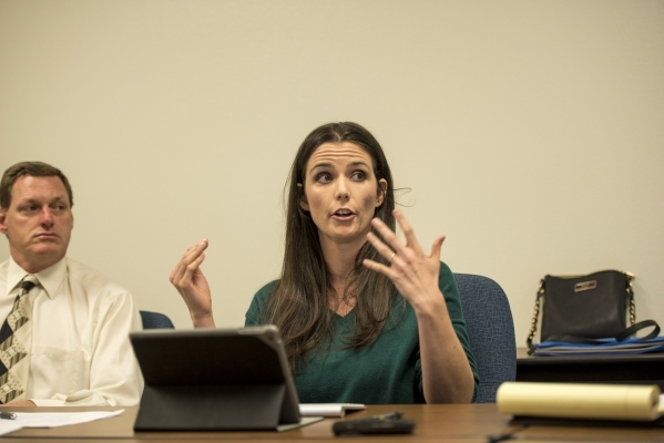 Amber Bosket, secretary for the Conservation District of Southern Nevada, speaks during a board meeting at the USDA Service Center in Las Vegas on Thursday, Jan. 28, 2016. Joshua Dahl/Las Vegas Re ...