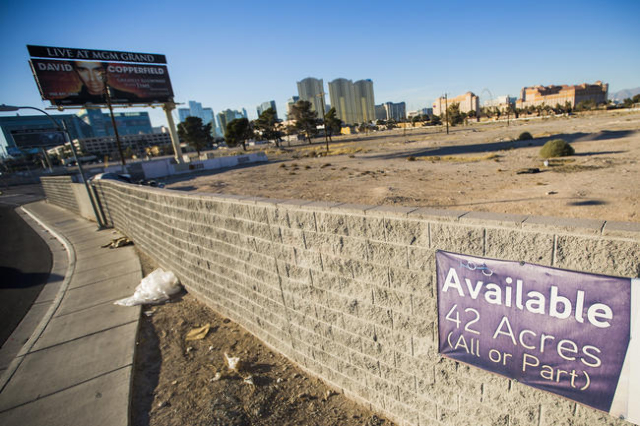 A 42-acre site at East Tropicana Avenue and Koval Lane near the University of Nevada, Las Vegas is shown Thursday, Jan. 29, 2016. Las Vegas Sands Corp. is leading a consortium of investors to part ...