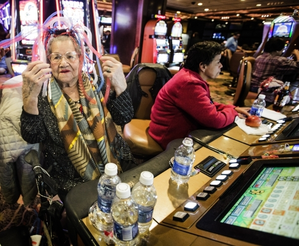 Cecila Delgado, 93, from Fresno, Calif., plays nickel electronic keno in the Fremont hotel-casino on Thursday, Dec.. 31, 2015.  Jeff Scheid/ Las Vegas Review-Journal Follow @jlscheid