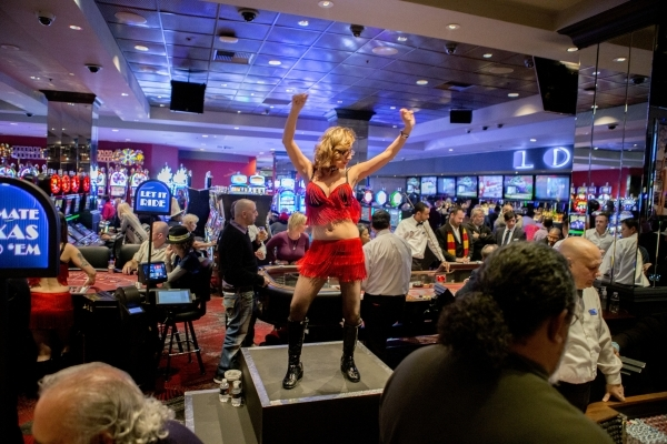 GoGo dancer Christy perform in live gaming area at the D Hotel on Thursday, Dec.. 31, 2015.  Jeff Scheid/ Las Vegas Review-Journal Follow @jlscheid