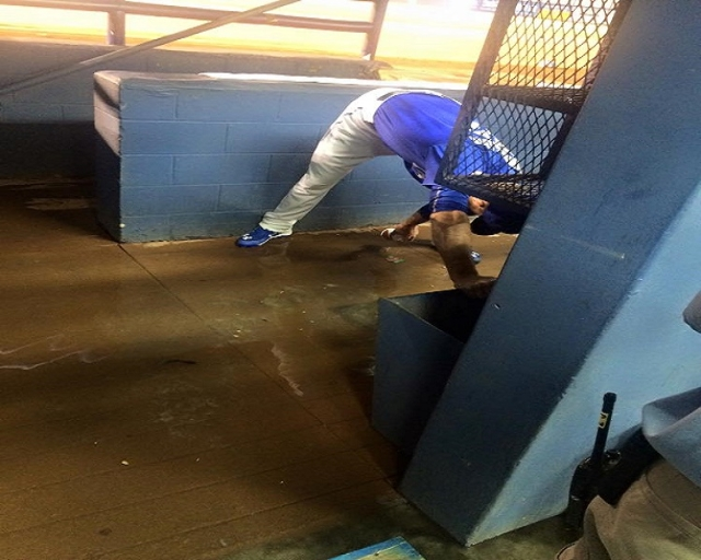 An unnamed player tries not to wreck his cleats (51's Facebook)