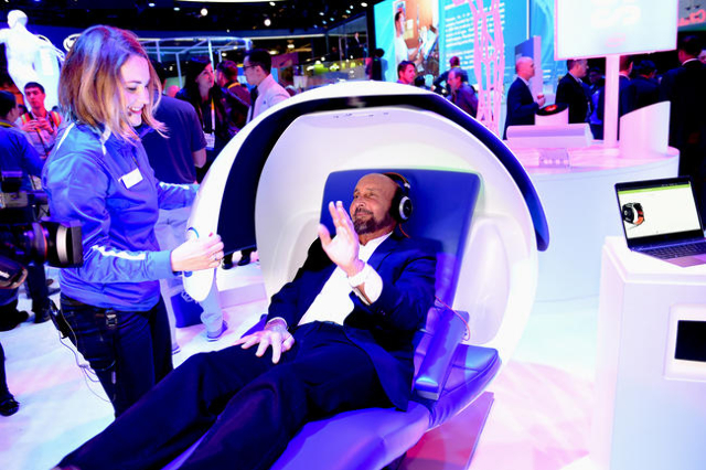 "Local Las Vegas TV personality Ed Bernstein trys the ""Sleep Pod"" at the 2016 CES Convention Day 2.  (Glenn Pinkerton/Las Vegas News Bureau)"