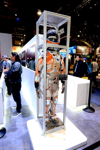 Martian surface suit on display at the 2016 CES Convention Day 2.  (Glenn Pinkerton/Las Vegas News Bureau)