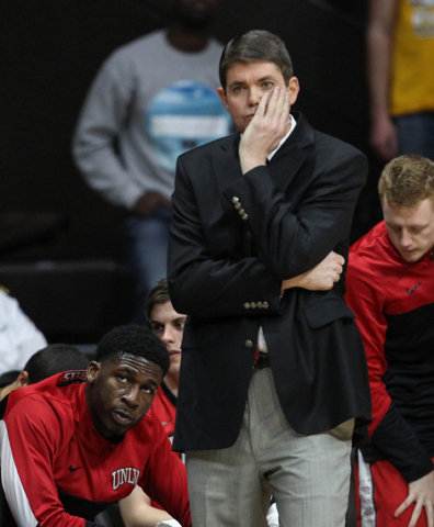 UNLV Runnin' Rebels head coach Dave Rice reacts against the Wyoming Cowboys during the first half at Arena-Auditorium. The Cowboys defeated the Runnin' Rebels 76-71. Mandatory Credit:  ...