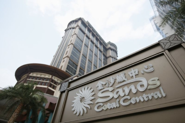 The Sands Cotai Central logo is seen in front of its hotel in Macau, Sept. 20, 2012, (Tyrone Siu/Files/Reuters)
