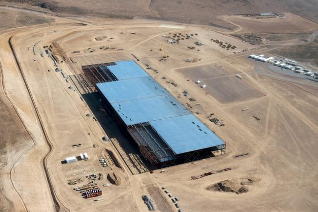 The Tesla Gigafactory is shown under construction outside Reno in May. (REUTERS/James Glover II)