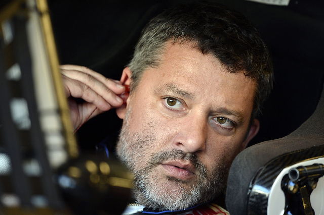 Jul 24, 2015; Indianapolis, IN, USA; NASCAR Sprint Cup Series driver Tony Stewart during practice for the Crown Royal 400 at Indianapolis Motor Speedway. (Jasen Vinlove/USA Today Sports)