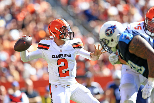 Sep 20, 2015; Cleveland, OH, USA; Cleveland Browns quarterback Johnny Manziel (2) throws a pass during the third quarter against the Tennessee Titans at FirstEnergy Stadium. Mandatory Credit: Andr ...