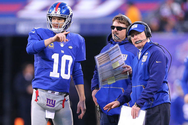 Dec 20, 2015; East Rutherford, NJ, USA; New York Giants quarterback Eli Manning (10) talks with offensive coordinator Ben McAdoo (center) and head coach Tom Coughlin (right) during the fourth quar ...