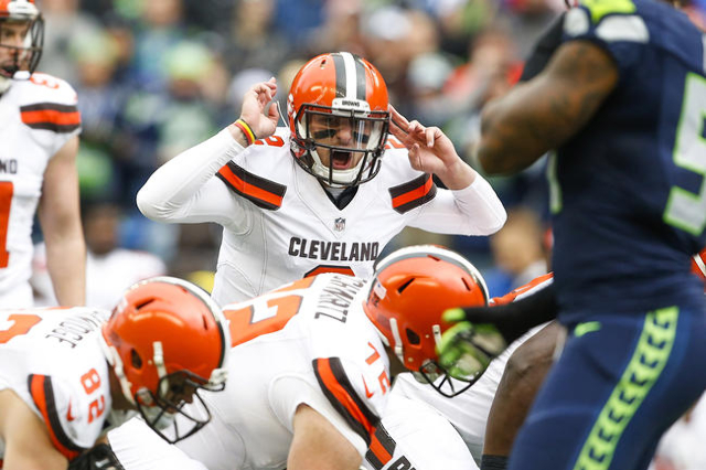 Dec 20, 2015; Seattle, WA, USA; Cleveland Browns quarterback Johnny Manziel (2) audibles at the line during the first quarter against the Seattle Seahawks at CenturyLink Field. (Joe Nicholson/USA  ...