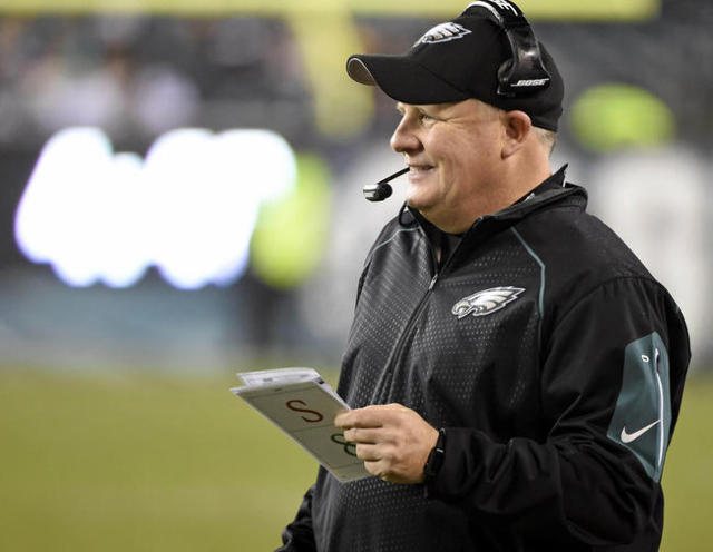 Dec 26, 2015; Philadelphia, PA, USA; Philadelphia Eagles head coach Chip Kelly during the fourth quarter against the Washington Redskins at Lincoln Financial Field. The Redskins defeated the Eagle ...