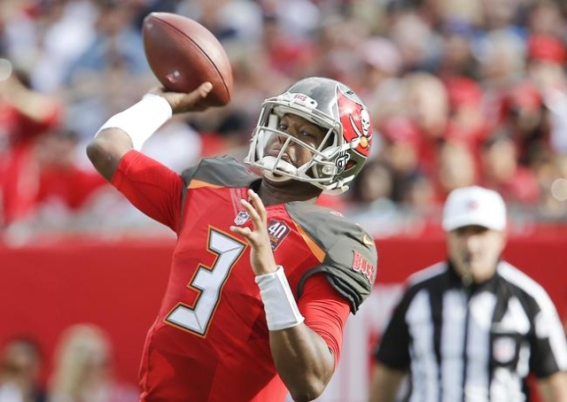 Dec 27, 2015; Tampa, FL, USA; Tampa Bay Buccaneers quarterback Jameis Winston (3) throws a pass during the second half of a football game against the Chicago Bears at Raymond James Stadium. The Be ...