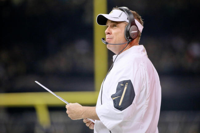 Dec 27, 2015; New Orleans, LA, USA; New Orleans Saints head coach Sean Payton looks on from the sidelines against the Jacksonville Jaguars during the second quarter of a game at the Mercedes-Benz  ...