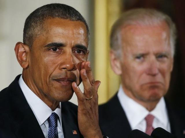 U.S. President Barack Obama wipes tears while delivering a statement on steps the administration is taking to reduce gun violence in the East Room of the White House in Washington January 5, 2016. ...
