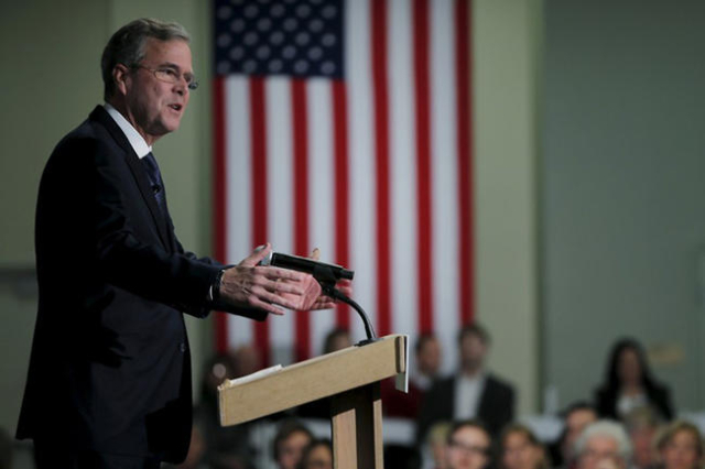U.S. Republican presidential candidate Jeb Bush speaks at the New Hampshire Forum on Addiction and Heroin Epidemic in Hooksett, New Hampshire, January 5, 2016. (Brian Snyder/Reuters)
