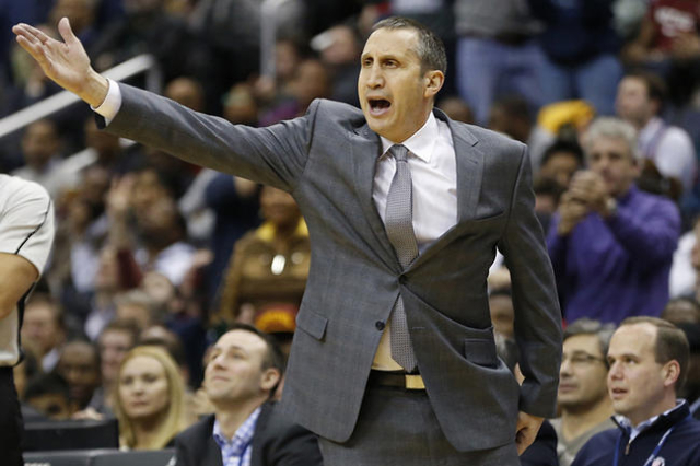Jan 6, 2016; Washington, DC, USA; Cleveland Cavaliers head coach David Blatt reacts on the bench against the Washington Wizards in the third quarter at Verizon Center. The Cavaliers won 121-115. ( ...