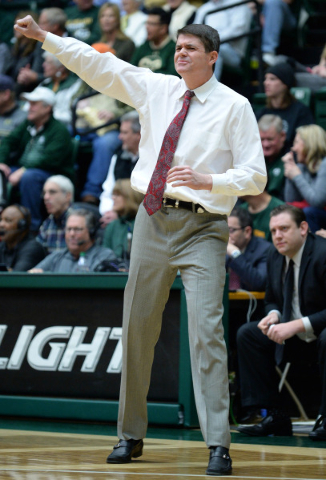 Jan 6, 2016; Fort Collins, CO, USA; UNLV Rebels head coach Dave Rice gestures from the sidelines in the first half against the Colorado State Rams at Moby Arena. Mandatory Credit: Ron Chenoy-USA T ...