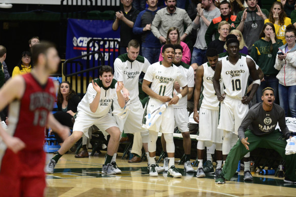Jan 6, 2016; Fort Collins, CO, USA; Colorado State Rams bench players celebrate a basket in the second half against the UNLV Rebels at Moby Arena. The Rams defeated the Rebels 66-65. Mandatory Cre ...