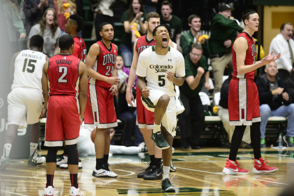 Jan 6, 2016; Fort Collins, CO, USA; Colorado State Rams guard Fred Richardson III (5) reacts to a basket made by guard Jeremiah Paige (not pictured) in the second half at Moby Arena. The Rams defe ...