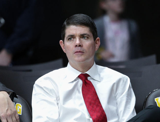 UNLV Runnin' Rebels head coach Dave Rice before game against the Wyoming Cowboys at Arena-Auditorium. Mandatory Credit: Troy Babbitt-USA TODAY Sports