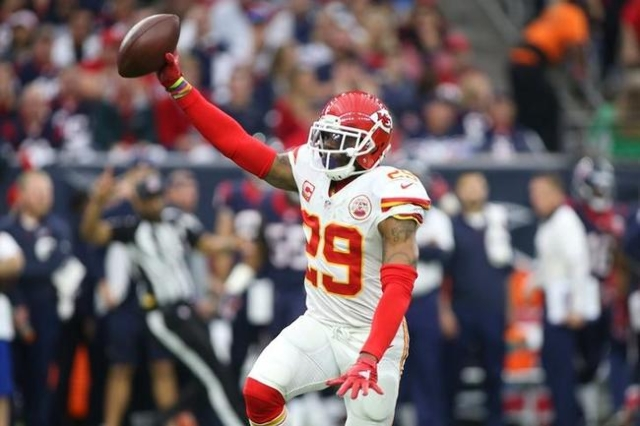 Kansas City Chiefs free safety Eric Berry (29) reacts after intercepting a pass against the Houston Texans during the first quarter in a AFC Wild Card playoff football game at NRG Stadium. Mandato ...