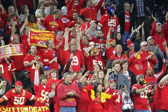 Kansas City Chiefs fans react during the fourth quarter in a AFC Wild Card playoff football game between the Texans and the Kansas City Chiefs at NRG Stadium. Kansas City won 30-0. Mandatory Credi ...