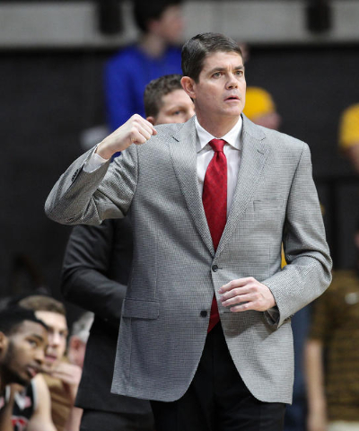 Jan 9, 2016; Laramie, WY, USA; UNLV Runnin' Rebels head coach Dave Rice reacts against the Wyoming Cowboys during the first half at Arena-Auditorium. The Cowboys beat the Runnin' Rebel ...