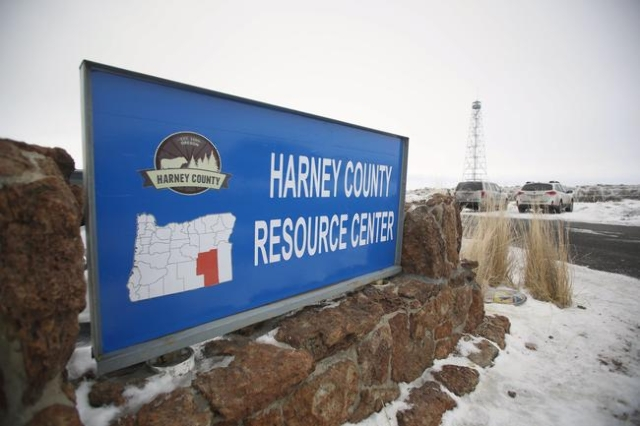 A new sign reading Harney County Resource Center at the headquarters of the Malheur National Wildlife Refuge near Burns, Oregon, January 9, 2016. REUTERS/Jim Urquhart