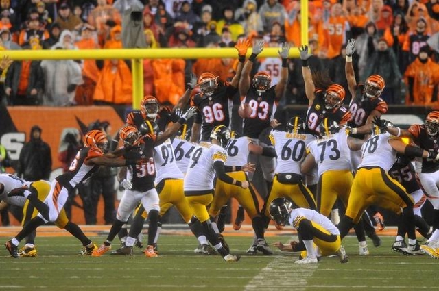 Pittsburgh Steelers kicker Chris Boswell (9) kicks the game winning field goal during the fourth quarter against the Cincinnati Bengals in the AFC Wild Card playoff football game at Paul Brown Sta ...