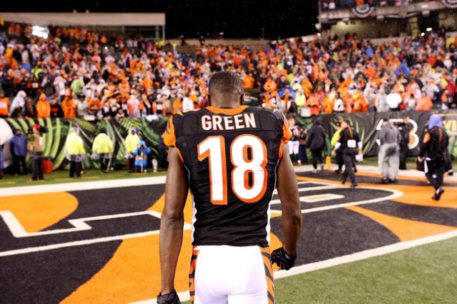 Cincinnati Bengals wide receiver A.J. Green (18) walks off the field after the AFC Wild Card playoff football game against the Pittsburgh Steelers at Paul Brown Stadium. Mandatory Credit: Aaron Do ...