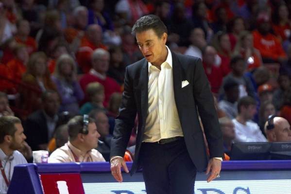 Jan 10, 2016; Clemson, SC, USA; Louisville Cardinals head coach Rick Pitino reacts during the second half against the Clemson Tigers at Bon Secours Wellness Arena. Tigers won 66-62. Mandatory Cred ...
