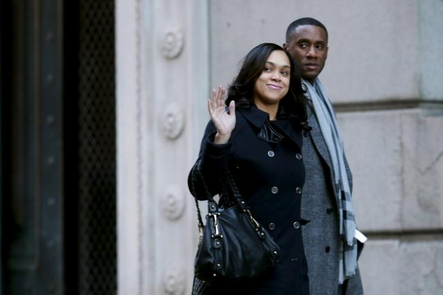 Baltimore City State's Attorney Marilyn Mosby arrives at the Mitchell Courthouse for jury selection in the case of Officer Caesar Goodson in Baltimore, Jan. 11, 2016. (Chip Somodevilla/Reute ...