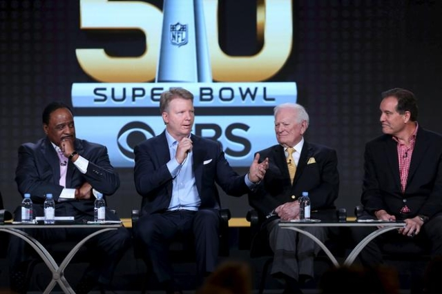 James Brown, left, host of The Super Bowl Sunday, Phil Simms, analyst for Super Bowl 50 on CBS Sports, Jack Whitaker, play-by-play announcer for Super Bowl 1, and Jim Nantz, play-by-play announcer ...