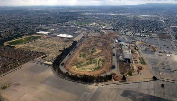 An aerial view of the former site of the Hollywood Park Race Track in Inglewood, California- the site of a proposed 80,000 seat NFL Stadium by St. Louis Rams owner Stan Kroenke- is shown in this F ...
