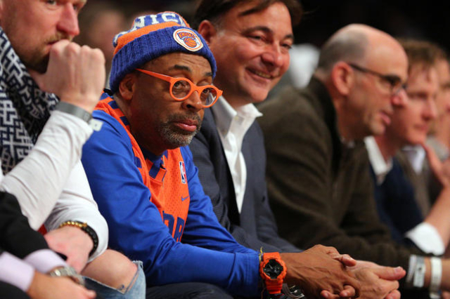 Jan 13, 2016; Brooklyn, NY, USA; American actor and director Spike Lee sits courtside during the second quarter between the New York Knicks and the Brooklyn Nets at Barclays Center. Mandatory Cred ...