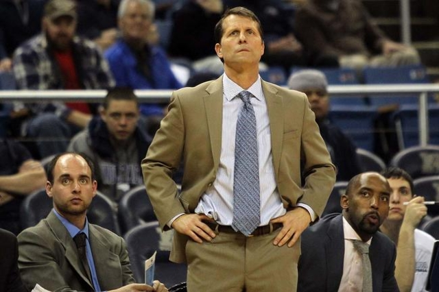 Jan 13, 2016; Reno, NV, USA; Nevada Wolf Pack Head Coach Eric Musselman watches the game late into the second half  with the Boise State Broncos at Lawlor Events Center. (Lance Iversen/USA Today S ...