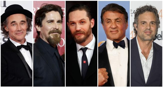 Oscar nominees for Best Supporting Actor: Mark Rylance, left, Christian Bale, Tom Hardy, Sylvester Stallone and Mark Ruffalo. (Reuters)