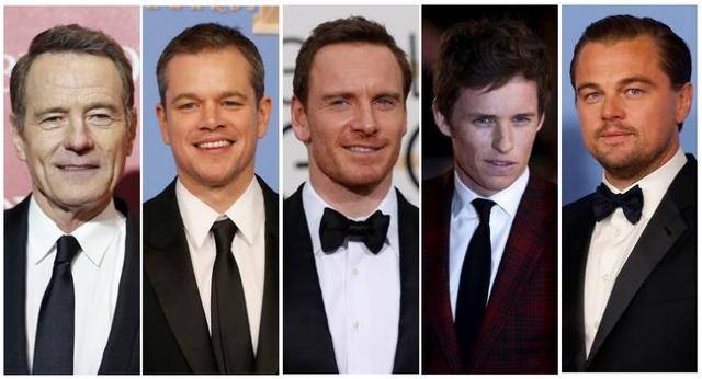 Oscar nominees for Best Actor: Bryan Cranston, left, Matt Damon, Michael Fassbender, Eddie Redmayne, and Leonardo DiCaprio. (Reuters)