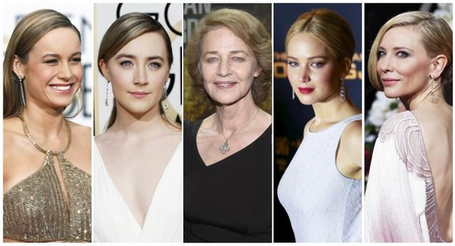 Oscar nominees for Best Actress: Brie Larson, left, Saoirse Ronan, Charlotte Rampling, Jennifer Lawrence, Cate Blanchett.  (Reuters)
