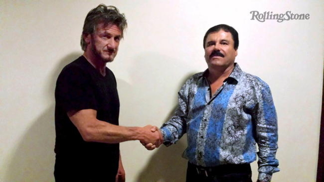 "Actor Sean Penn, left, shakes hands with Mexican drug lord Joaquin ""Chapo"" Guzman in Mexico, in this undated Rolling Stone handout photo obtained by Reuters on January 10, 2016. REUTERS/ ..."